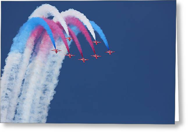 Airshow Greeting Cards - Red Arrows Greeting Card by Jonathan Simons