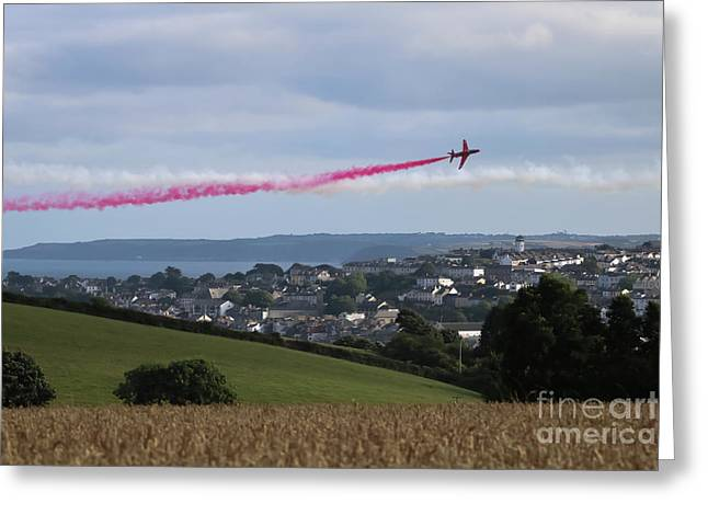 Red Arrows Over Falmouth Cornwall Greeting Card by Terri Waters