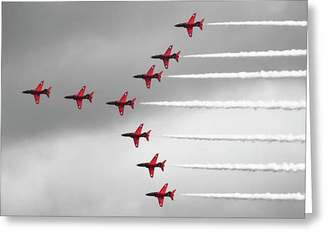 Red Arrows Selective Colour Panorama Greeting Card by Terri Waters