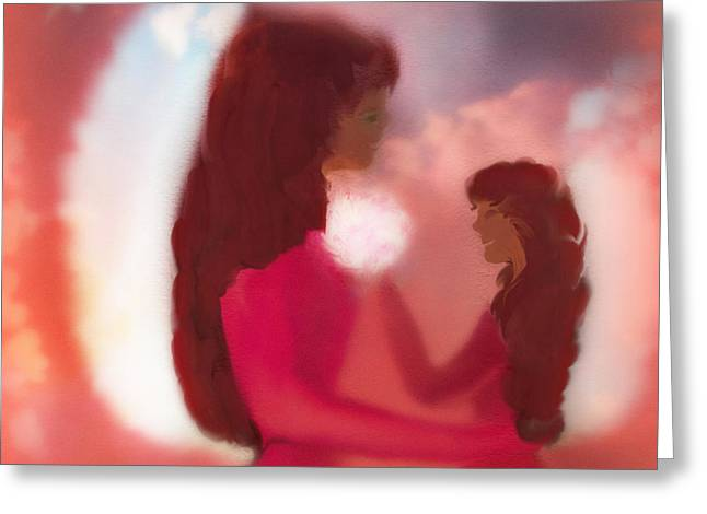 Digital Art Greeting Cards - Red Art  Mom and Daughters Love by Sherri  Of Palm Springs Greeting Card by Sherri  Of Palm Springs