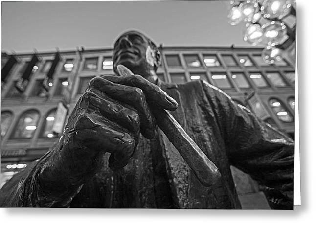 Red Auerbach Chilling At Fanueil Hall Black And White Greeting Card by Toby McGuire