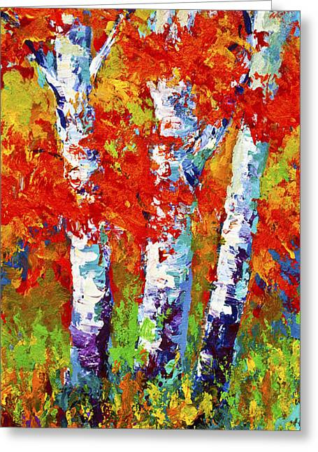 Birch Tree Greeting Cards - Red Autumn Greeting Card by Marion Rose