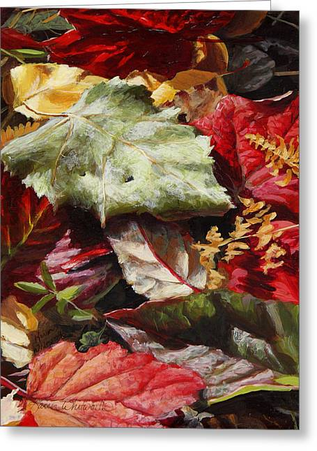 Hyper-realism Greeting Cards - Red Autumn - Wasilla Leaves Greeting Card by Karen Whitworth