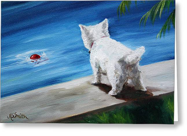 Dog Beach Card Greeting Cards - Red Ball Greeting Card by Mary Sparrow