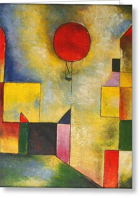 Recently Sold -  - Geometric Shape Greeting Cards - Red Balloon Greeting Card by Paul Klee