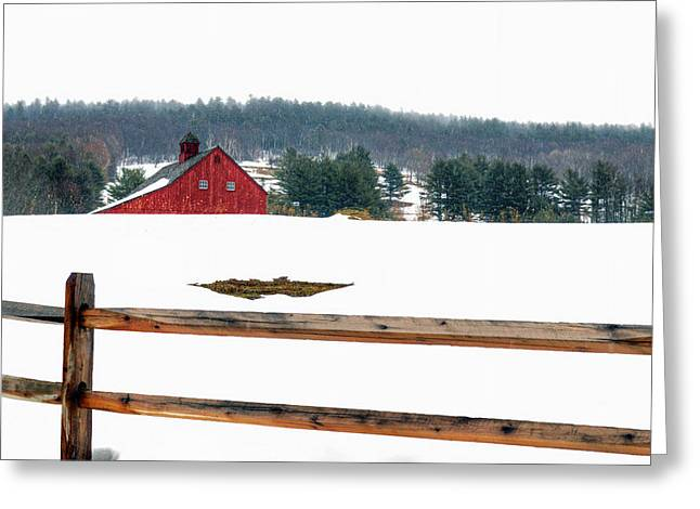 Overcast Day Greeting Cards - Red Barn and Fence Greeting Card by Geoffrey Coelho
