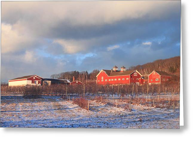 Red Barn And Orchard Winter Evening Greeting Card by John Burk