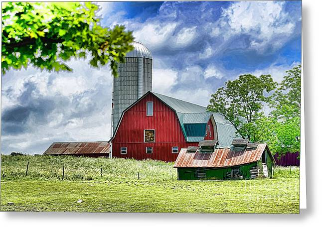 Farm Life Framed Prints Greeting Cards - Red Barn and Silo Greeting Card by Pat Carosone