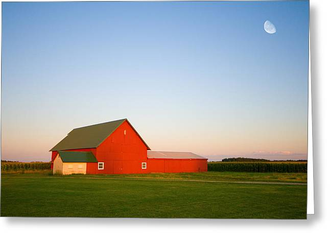 Rural Indiana Greeting Cards - Red Barn and the Moon Greeting Card by Alexey Stiop