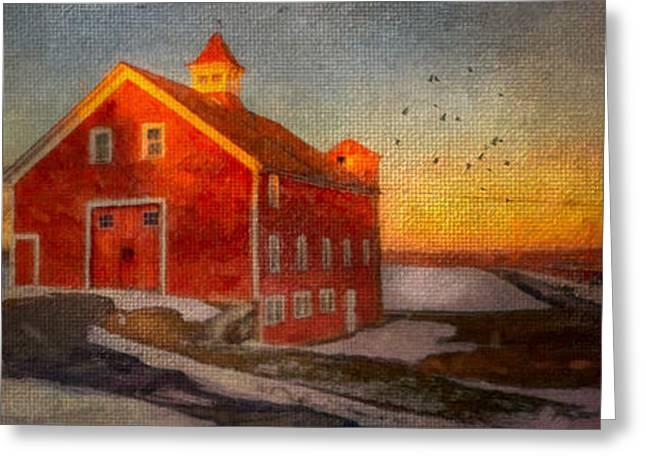 Winter Pyrography Greeting Cards - Red Barn At Dusk Greeting Card by Michael Petrizzo