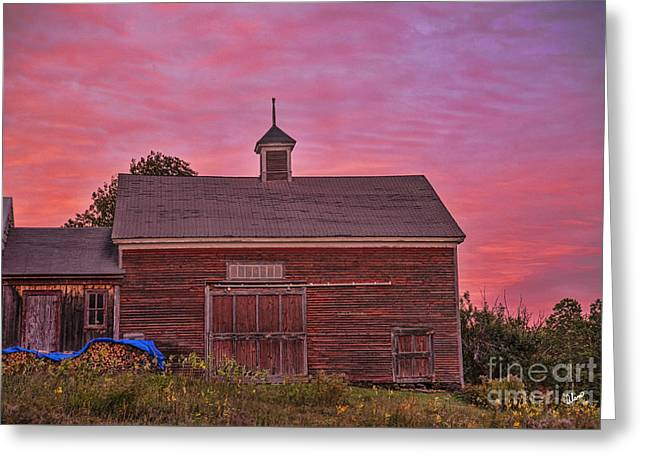 Old Maine Barns Greeting Cards - Red Barn at Sunset Greeting Card by Alana Ranney