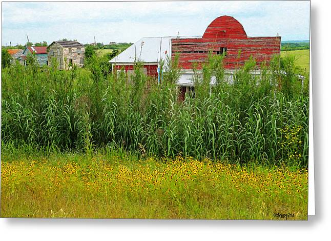 Barn Dance Greeting Cards - Red Barn Dance Hall Black Eyed Susans - Abandoned Town Greeting Card by Rebecca Korpita
