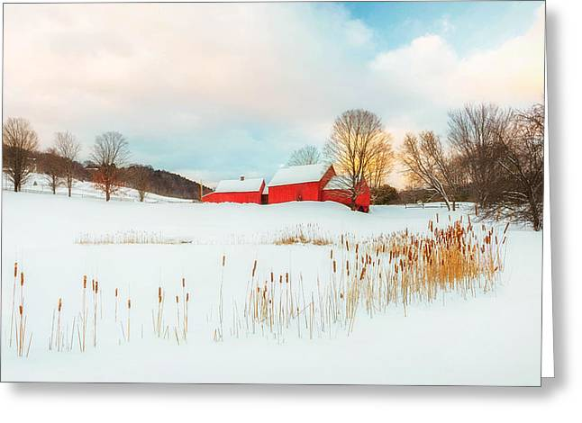 New England Snow Scene Greeting Cards - Red Barn Farm Winter  Greeting Card by John Vose