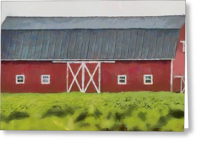 Red Barn Green Field Greeting Card by Dan Sproul