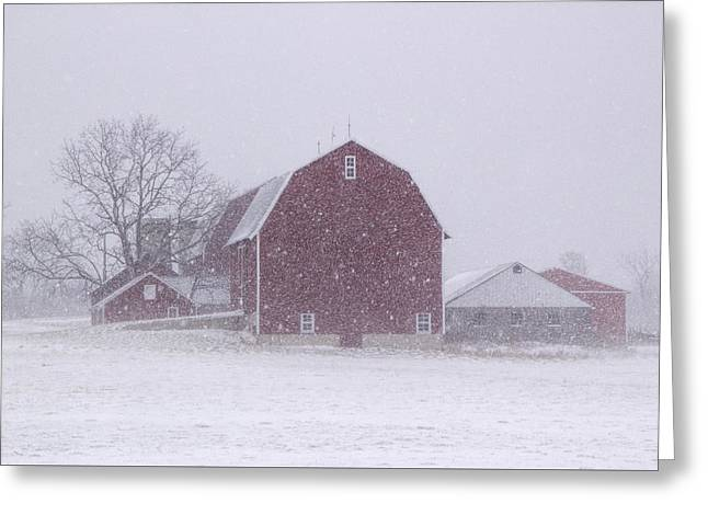 Winter Scenes Rural Scenes Greeting Cards - Red Barn in a Snowstorm Greeting Card by Randall Nyhof