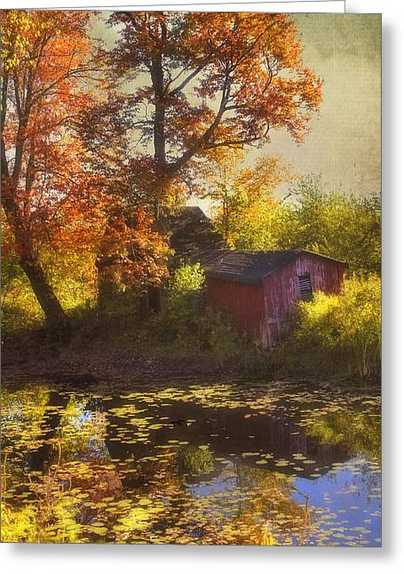 Red Barn In Autumn Greeting Card by Joann Vitali