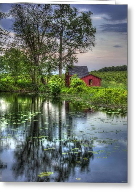 Lilly Pad Greeting Cards - Red Barn in Country Setting Greeting Card by Joann Vitali
