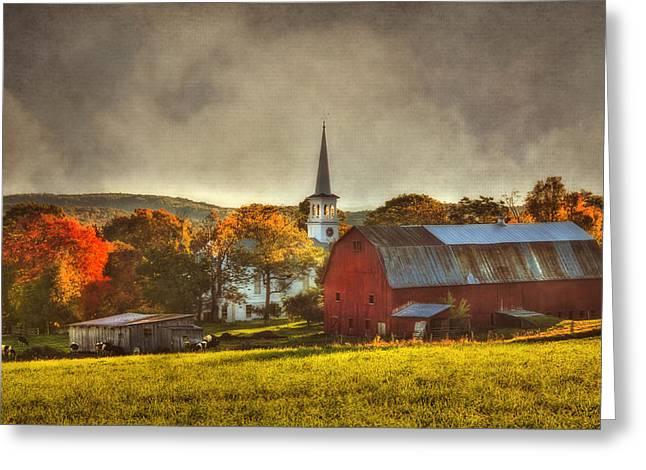 Red Barn In Fall - Peacham Vermont Greeting Card by Joann Vitali