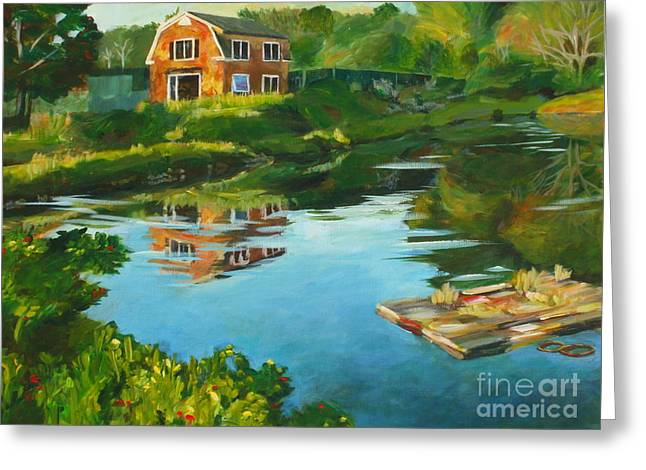 Red Barn In Kennebunkport Me Greeting Card by Claire Gagnon