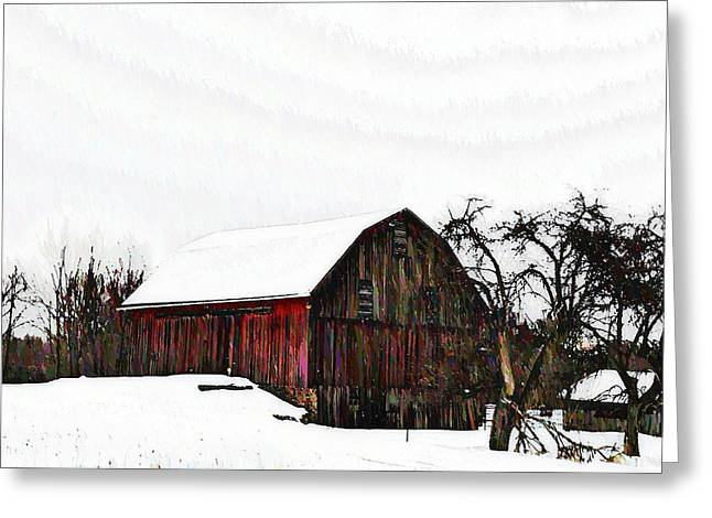 Red Barn In Snow Greeting Card by Bill Cannon