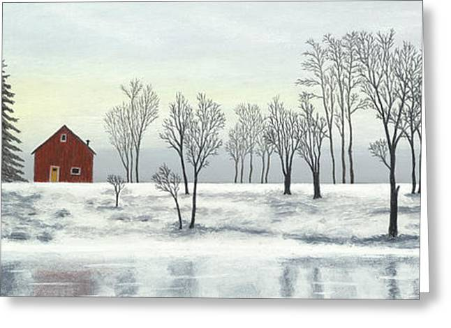 Winter Roads Pastels Greeting Cards - Red Barn In Winter Greeting Card by George Burr