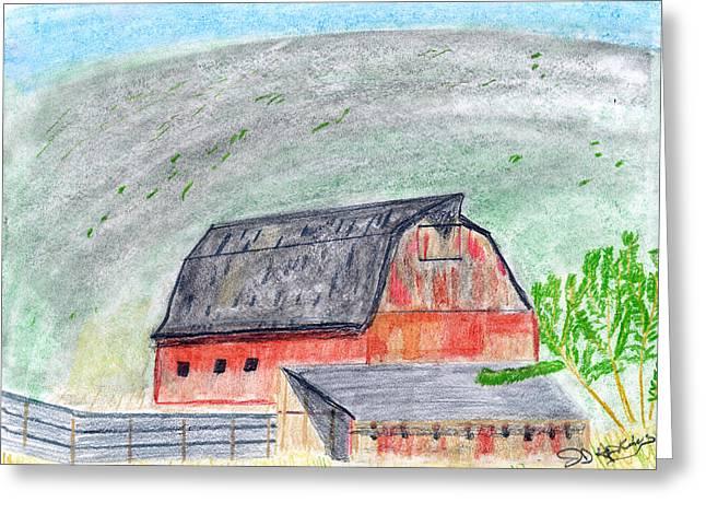 Red Barn Greeting Card by John Hoppy Hopkins