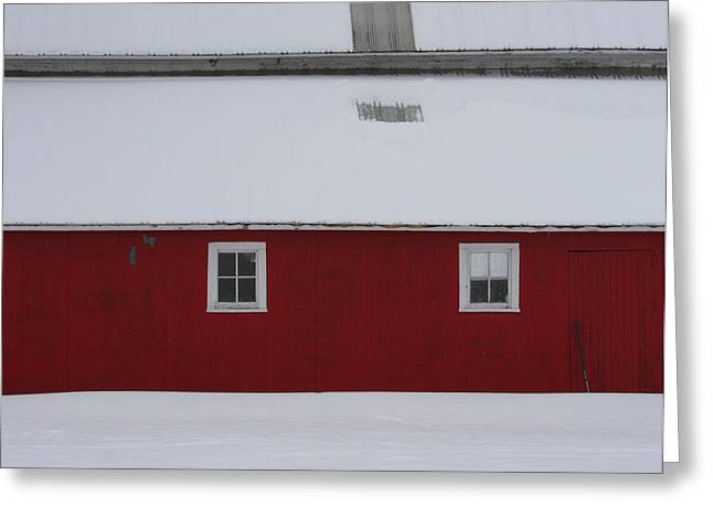 Snowstorm Greeting Cards - Red Barn  Greeting Card by Julie Lueders