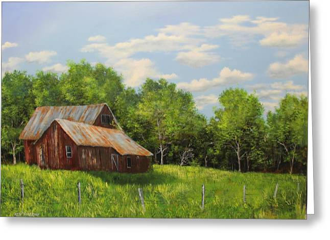 Red Barn Greeting Card by Ken Ahlering