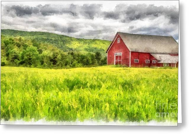New England Digital Greeting Cards - Red Barn Landscape Watercolor Greeting Card by Edward Fielding