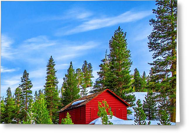 Red Barn Greeting Cards - Red Barn On A Hill Greeting Card by Az Jackson