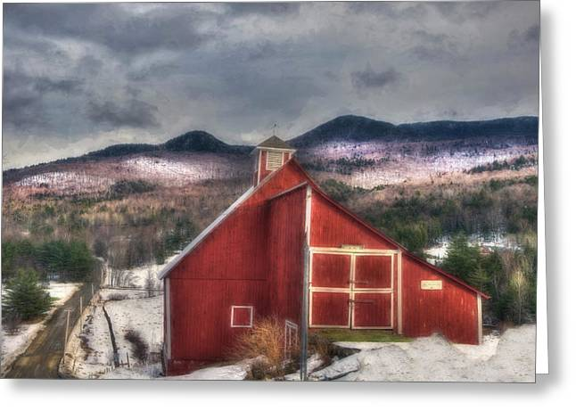 Red Barn In Winter Greeting Cards - Red Barn on Old Farm - Stowe Vermont Greeting Card by Joann Vitali