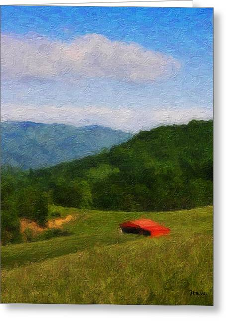 Franklin Farm Greeting Cards - Red Barn on the Mountain Greeting Card by Teresa Mucha