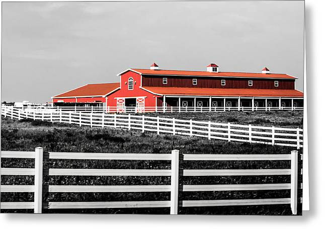 Red Barn Greeting Card by Parker Cunningham