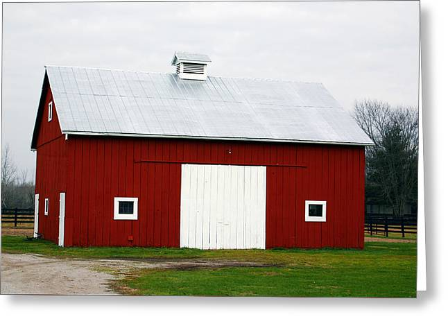 Red Barn- Photography By Linda Woods Greeting Card by Linda Woods