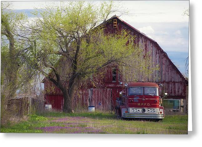 Red Barn Red Truck Greeting Card by Toni Hopper