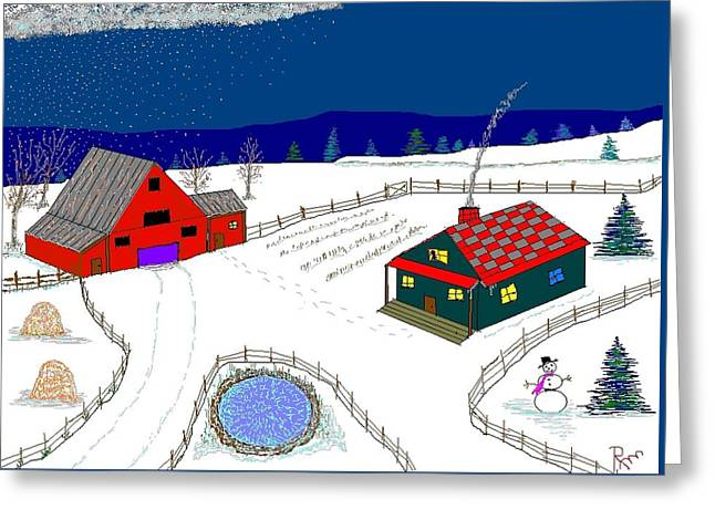 Etc. Paintings Greeting Cards - Red Barn Greeting Card by Richard Magin