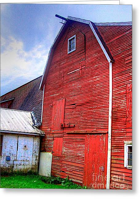 Scenic Artwork Greeting Cards - Red Barn Greeting Card by Robert Pearson
