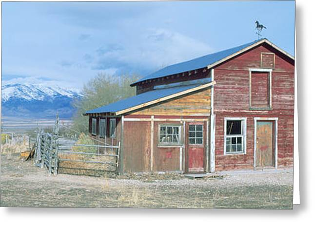 Old Barns Greeting Cards - Red Barn, Route 50, Nevada Greeting Card by Panoramic Images