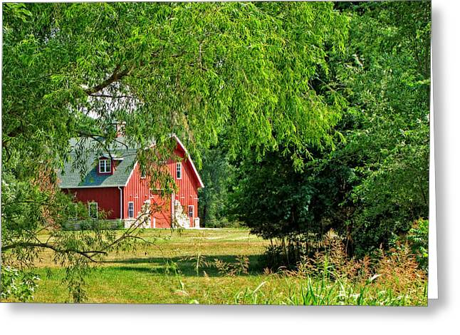 Serenity Tapestries - Textiles Greeting Cards - Red Barn Serenity Greeting Card by Paula Anderson