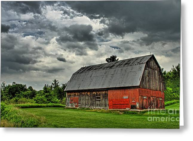 Red Buildings Greeting Cards - Red Barn Greeting Card by Tim Wilson