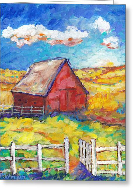 Farmers Field Greeting Cards - Red Barn and Golden Fields Greeting Card by Peggy Johnson