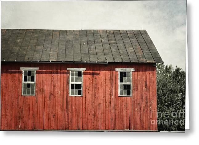 Red Barn Prints Greeting Cards - Red Barn Windows Greeting Card by Andrea Hazel Ihlefeld