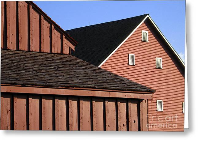 Red Barns And Blue Sky With Digital Effects Greeting Card by William Kuta