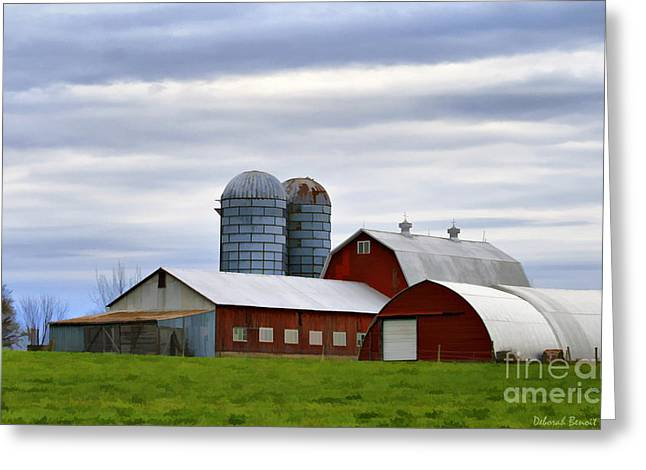 Rural Mixed Media Greeting Cards - Red Barns Of 3 Greeting Card by Deborah Benoit