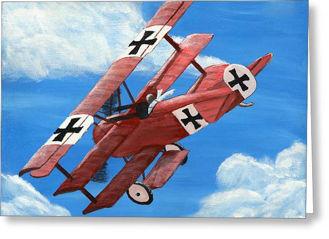 Triplane Greeting Cards - Red Barron Fokker dr.1 triplane painting Greeting Card by Keith Webber Jr