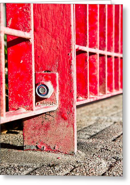 Red Bars Greeting Card by Tom Gowanlock