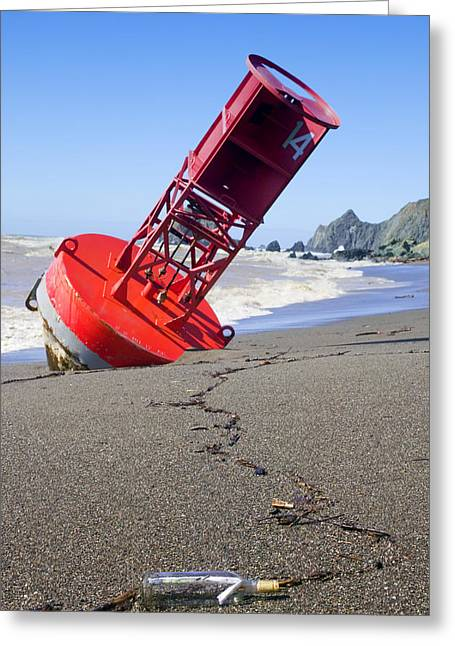 Bell Greeting Cards - Red bell buoy on beach with bottle Greeting Card by Garry Gay