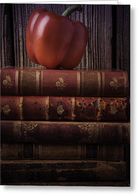 Rare Books Greeting Cards - Red Bell Pepler And Books Greeting Card by Garry Gay