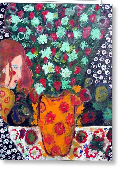 Vase With Figures Greeting Cards - Red Greeting Card by Ben Merlaux