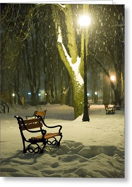 Snowy Night Night Greeting Cards - Red bench in the park Greeting Card by Jaroslaw Grudzinski